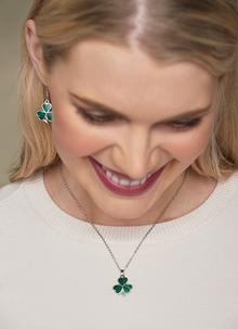 Shamrock Enamel Pendant & Earrings Set
