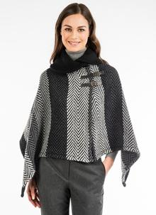 Shawl Collar Cape Multi Gray