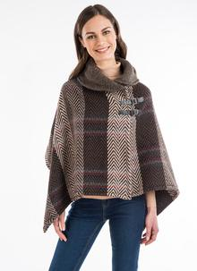 Shawl Collar Cape Multi Beige