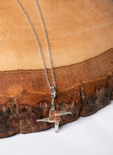 Silver Rose Gold St.Brigid Cross Irish Pendant