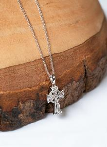 Sterling Silver Celtic Trinity Cross Embellished with Swarovski Crystals