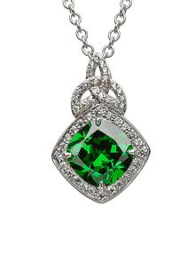 Sterling Silver Cushion Halo Pendant Green