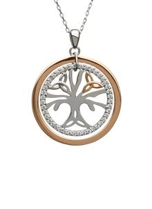 Sterling Silver & Irish Rose Gold Tree of Life Pendant