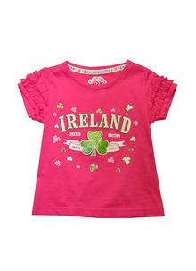 Girls Frilly Pink Ireland T-Shirt