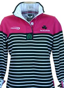 Ladies Ireland Rugby Pink Striped Sweater