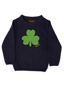 Kids Irish Shamrock Knitted Navy Sweater