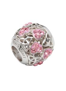 Trinity & Heart Pink Bead Embellished With Swarovski Crystals