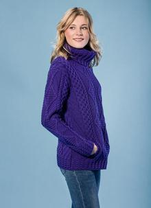 Una Cowl Neck Aran Sweater