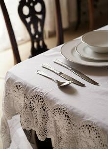 Vintage Cotton and Lace Tablecloth