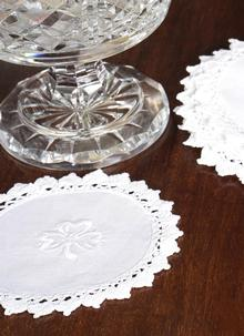 Blarney White Shamrock Doily Collection