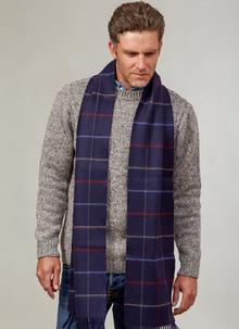 Wool Cashmere Scarf Navy Blue Check