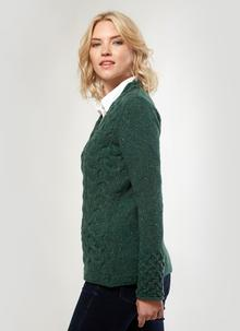 Wool Cashmere Horseshoe Cable V-Neck Sweater