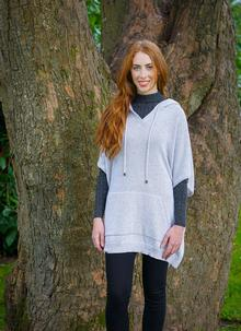 Women's Hooded Poncho Wool Mix