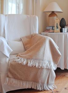 Brown and Cream Wool Cashmere Throw