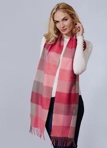 Avoca Merino Wool Scarf Pink Fields