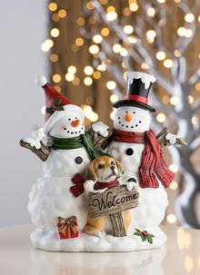 Snowmen with Welcome Sign