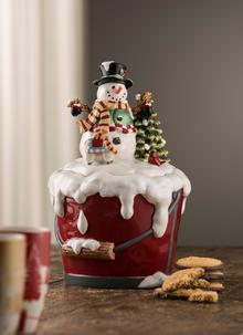 Snowman Pail Bucket Cookie Jar