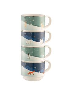 Winter Animals Stacking Mugs Set of 4
