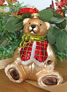 Teddy Bear Glass Ornament