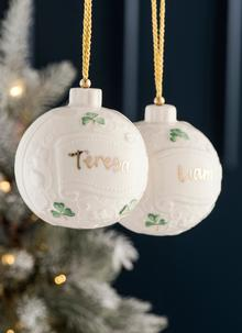 Belleek Personalized Bauble Ornament
