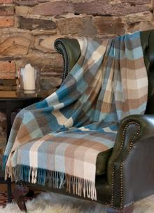 Harlequin Aqua Check Lambswool Throw