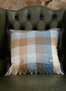 Harlequin Aqua Check Lambswool Cushion