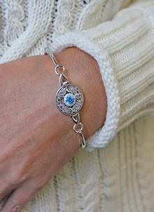 Sterling Silver Swiss Blue Celtic Warrior Bangle