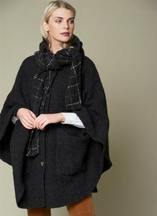 Lisa Oak Check Hooded Cape
