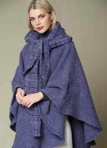 Lisa Indigo Check Hooded Cape