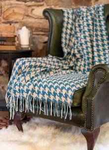 Camel & Aqua Houndstooth Lambswool Throw
