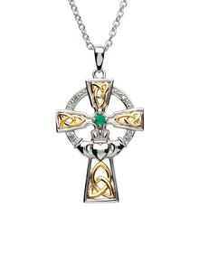 Sterling Silver Celtic Trinity Cross Set With Emerald And Diamond
