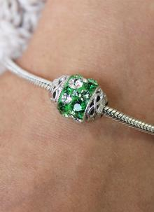 Celtic Knot Bead Adorned With Green Swarovski Crystals