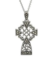 Celtic Knotwork Marcasite Cross Pendant
