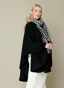 Ciara Black Houndstooth Cape