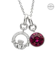 Claddagh Birthstone Charm Pendant Adorned With Swarovski Crystals