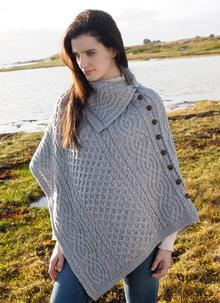 Traditional Cowl Neck Honeycomb Poncho