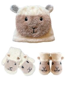 Baby Sheep Hat, Booties & Mittens Set
