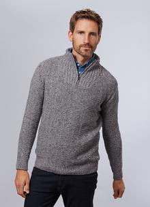 Dunmore Textured Zip Neck Sweater