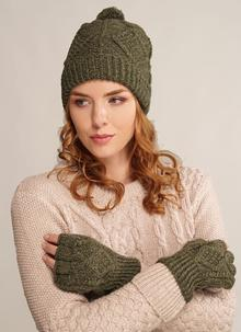 Merino Wool Fingerless Gloves & Hat Set Moss Green
