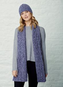Fisherman Donegal Fleck Beanie & Scarf Set - Purple Rain
