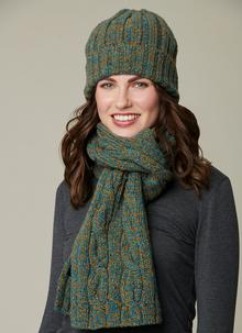 Fisherman Donegal Fleck Beanie & Scarf Set - Emerald Gold