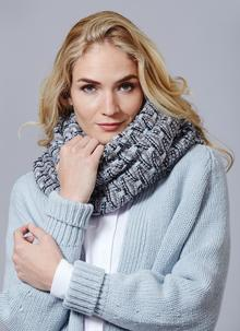 Fisherman Shell Stitch Oversized Scarf Grey Sky