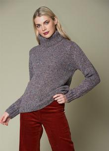 Fisherman Donegal Fleck Polo Neck Sweater