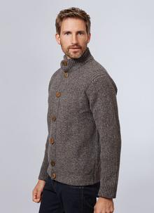 Fisherman Wool Cashmere High Neck Button Cardigan
