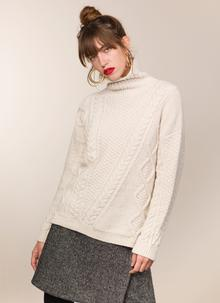Fisherman Lambswool Funnel Neck Sweater