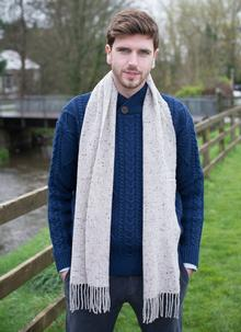 Donegal Neutral Tweed Scarf With Cashmere