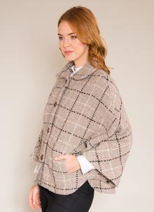 Freda Beige Check Cape