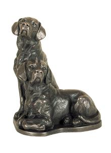 Pair of Labradors Bronze Figurine
