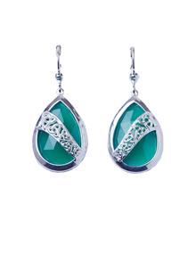 Sterling Silver Green Onyx Trinity Overlay Earrings