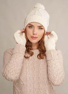 Fingerless Gloves & Hat Set Natural